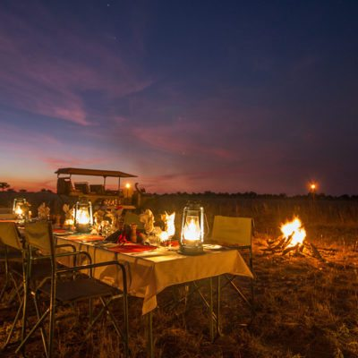 Kwando Lagoon bush dinner