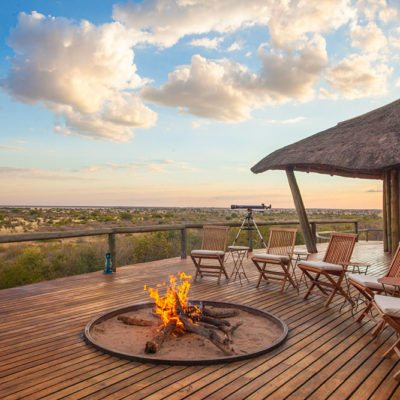 Kwando Tau Pan camp fire and view 2