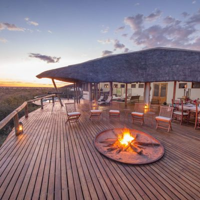 Kwando Tau Pan camp fire and view