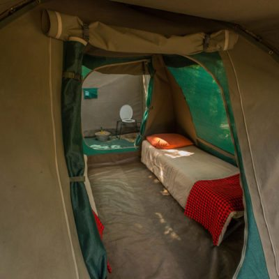 Tent interior looking through to ensuite toilet